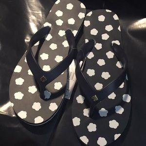 NWT Kate spade flip flops navy&white